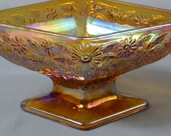 Lovely  Vintage Amber Carnival Glass Diamond-Shape Compote Bowl, Indiana Glass Company - King's Crown, Thumbprint,  Circa 1960s