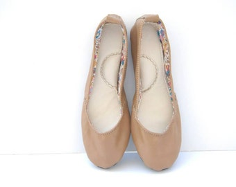Brown handmade leather ballerina flat shoes custom made