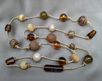 Amber and Hand Pianted Glass Bead on Hemp Necklace  Vintage Jewelry Vintage Necklace