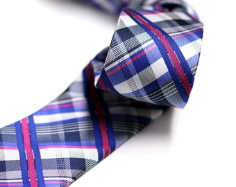 Tie in Plaids with Blue, Pink, Navy, White