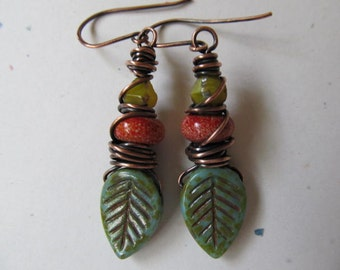 Autumn Leaves Czech Glass and Lampwork Wire Wrapped Artisan Earrings