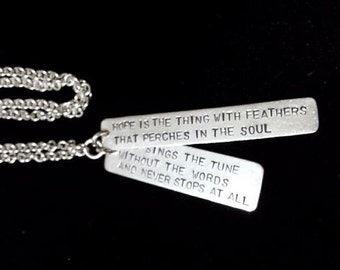 Hand Stamped Sterling Silver Hope Pendant Necklace