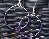 Silver Hoop Earrings -Beaded Earrings - Seed Bead Earrings Silver Plated - Purple Beaded Earrings - Womans jewellery -