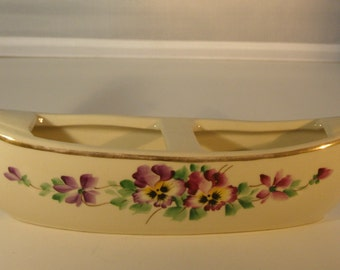 Vintage Creamy White Italian Gondola Planter with Hand Painted Pansies & Gold Trim