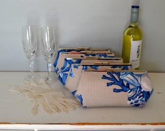 Free US Shipping Bridesmaid Set of Five Coastal Nautical Beach Blue Beige Coral Shells Linen Clutches Purses Bags