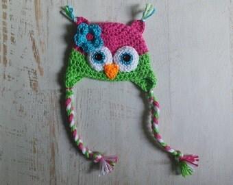 Crochet Baby Girl Owl Hat Photography Prop