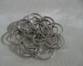 Silver Flower Brooch - Layered Petals - Vintage