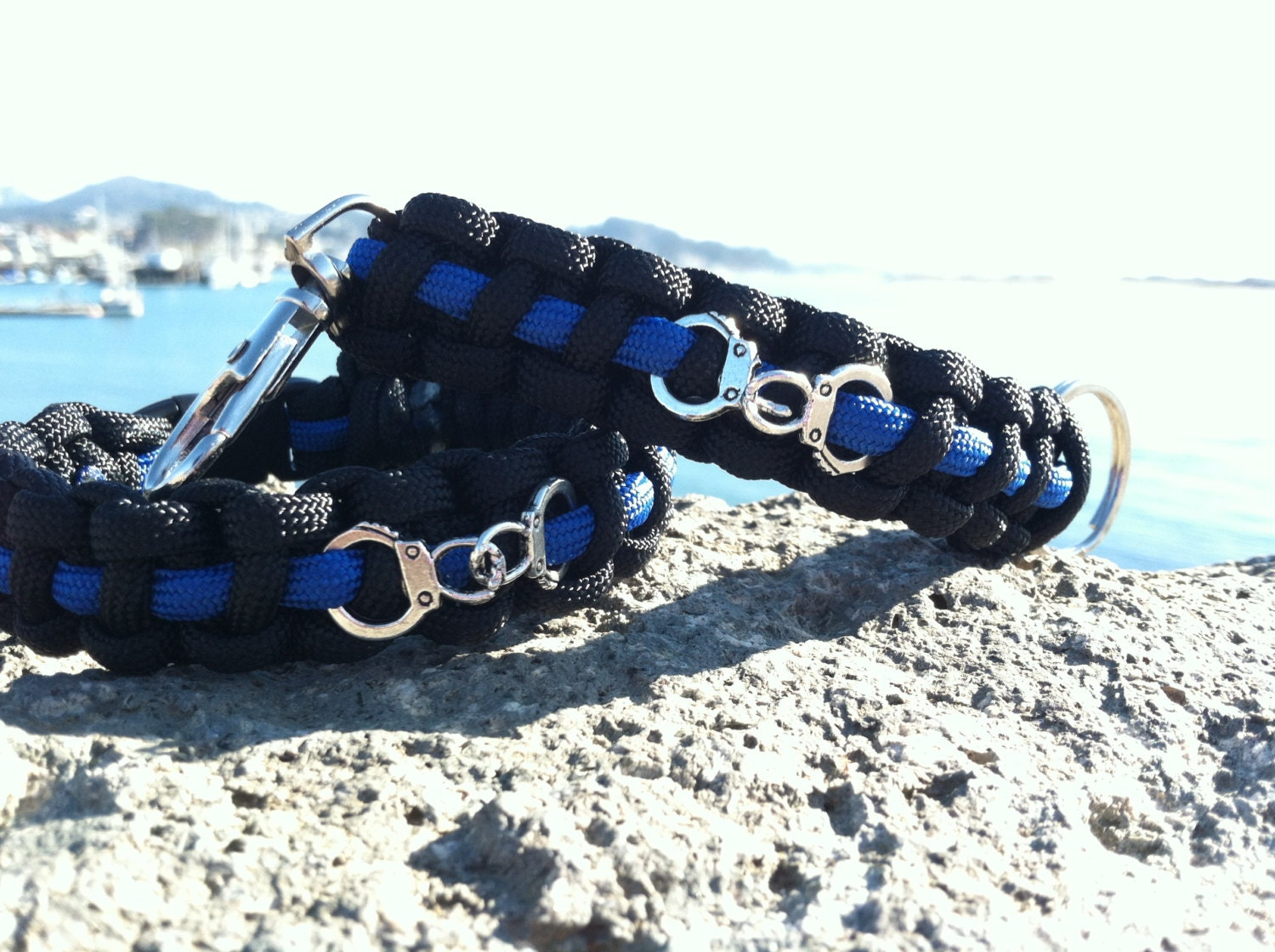 thin blue line bracelet or key chain with by thecraftytraveler. Black Bedroom Furniture Sets. Home Design Ideas