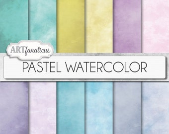 """Watercolor digital papers """"PASTEL WATERCOLOR"""" Painted backgrounds, Watercolor &,Teal, Pink, Blue for Photographers, Scrapbookers, Etc"""