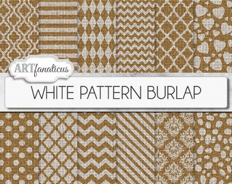 "Burlap digital papers ""WHITE PATTERN BURLAP"" realistic burlap paper, white patterns, chevron, damask, dalmatian, stripes, quatrefoil, hearts"