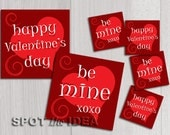 """PRINT at HOME Love Cards Red Set of 2 Cards 4X4"""" and 2 Gift Tags 2x2"""" - Be Mine and Happy Valentine's Day - Digital Download"""