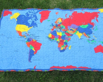 world map quilt etsy