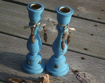 Set of Two Turquoise CANDLE Holders, Upcycled Boho Shabby Chic, Distressed Candle Holders, Home Beach Shabby Chic Boho Decor