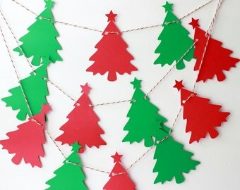 Christmas Tree Garland, Holiday Garland, Christmas Decor, Photo Prop, Mantle Decor, Holiday Decoration, Christmas Star Garland, Red Garland