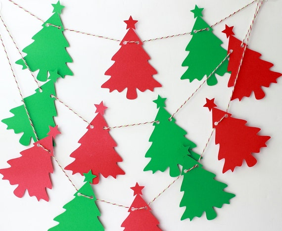 Items similar to christmas garland tree garland holiday - Comment faire une guirlande de noel en papier ...