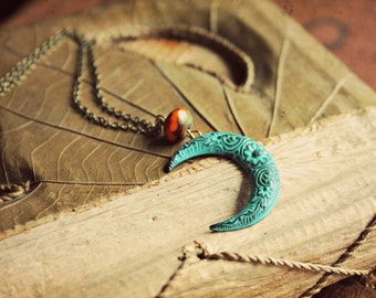 Gypsy Moon ~ a bohemian brass beaded necklace with a patina filigree crescent moon and an orange czech glass accent bead