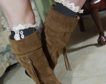 Boot Socks womens high knee socks cable knit Lace and buttons - Legwarmer