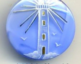 Hand painted Czech glass button blue with light house and gold accent - size 12, 27mm  FCB 16029
