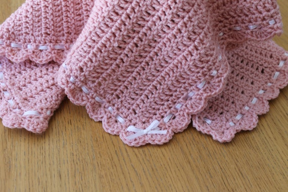 Crochet Pink Baby Blanket Afghan With Shell Edging By