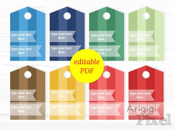 editable hang tags fall colors - printable PDF - wide striped gift tags - blue red green colors - type your text tags download