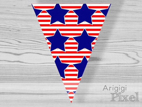 red striped pennant with blue stars, printable bunting banner, party garland, patriotic, holiday, 4th July, Labor day, instant download