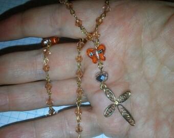 Orange Christian Anglican Prayer Beads  (I 243)
