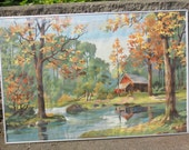 RESERVED for Allison Bell - Vintage 1970s Solitary Cabin by the Stream in the Autumn Woods Oil Painting