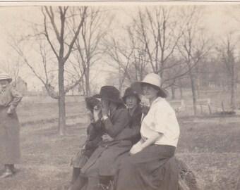 Vintage Black & White Snapshot Photograph: Outdoor Woman Fashion Trees 1930's 4A