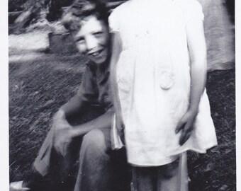 Vintage Black & White Snapshot Photograph: Blurry Boy Girl Kids 1950's 61A