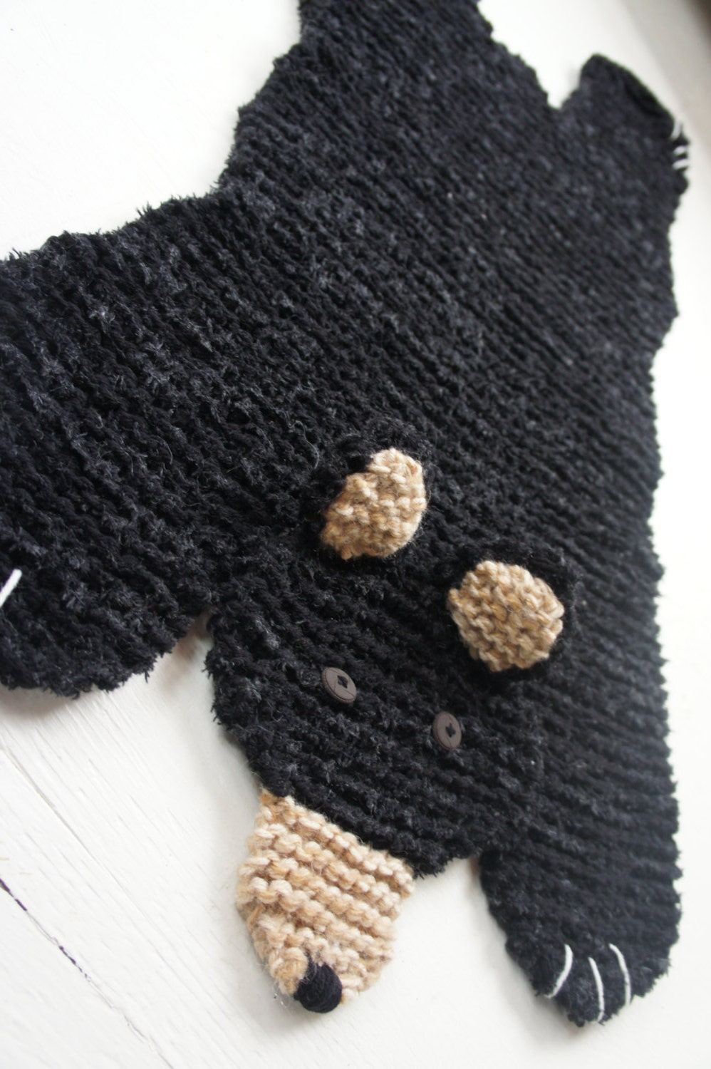 Bear Rug Knitting Pattern : Spring sale prices reduced by hand knit inch black