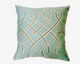 Light Aqua 16x16 Pillow Cover Swirl Design In Mustard Cocoa & White