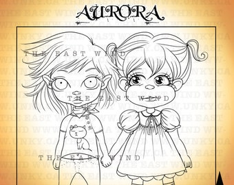 Digital stamp- 'BABY Aurora + Baby Lucy Loo 'Best Friend Forever' - 300 dpi JPEG/PNG files -  BB0001