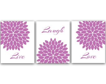 Live Laugh Love Art Print, Printable Wall Art, Quote Art Print, Purple Home Decor, Chrysanthemum, Instant Download - HOME15