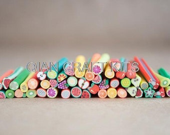 20pcs Fruit Fimo Canes Polymer Clay Rods for Miniature Foods, Nails, Beads 5cm long RT0035