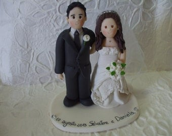 custom bride and  groom romantic wedding cake topper