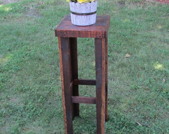 Rustic Plant Stand, Rustic Table, Solid Wood Plant Stand, Tall Side Table, Reclaimed Wood, Plant Stand, Rustic Table, Country Cottage