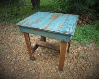 Turquoise End Table, Rustic Table, Southwest Furniture, Cabin Furniture, Rustic Wood Table, Solid Wood, Patio Table, Bedside Table