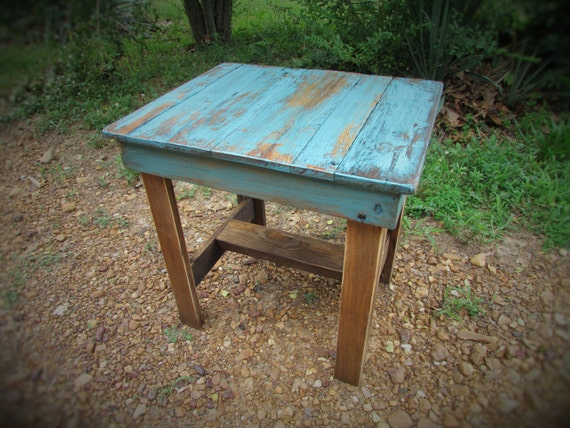 Turquoise End Table Rustic Table Southwest Furniture Cabin