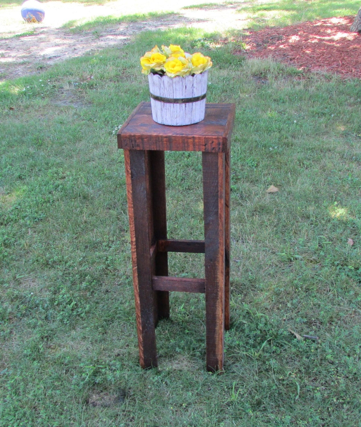 rustic plant stand rustic table solid wood plant stand tall. Black Bedroom Furniture Sets. Home Design Ideas