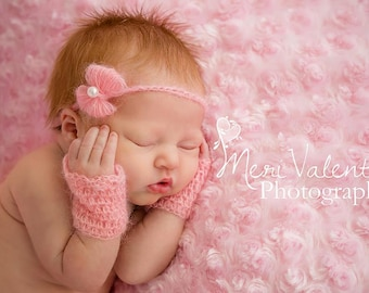 Crochet newborn baby mohair fingerless gloves wristlets & tieback set photo prop - Custom made to order-
