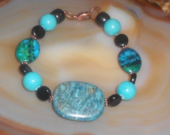Handcrafted Blue Crazy Lace Agate with Chrysocolla