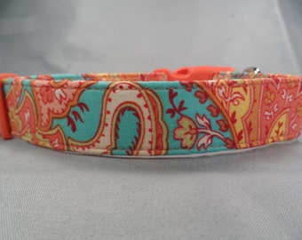Blue and Peach Paisley Dog Collar