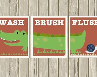 Wash, brush, flush, children's bathroom, alligator bathroom, kids bathroom art, alligator wall art, set of 3, custom colors