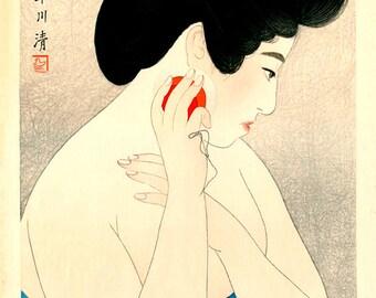 Japanese art prints, japanese geishas, beautiful women portraits paintings, prints, posters, Powdering The Face Kobayakawa FINE ART PRINT