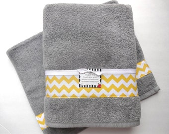 Popular items for yellow gray bathroom on etsy for Yellow and grey bathroom sets