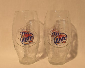 MILLER LITE Football Mugs Set of 2 Great for the Man Cave