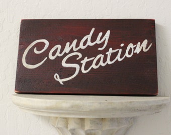 wooden sign for wedding or special event candy station
