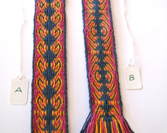 Gift idea! Handwoven bookmark - kivrim pattern variation on card weaving loom