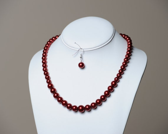 Red Pearl Necklace with Matching Earrings