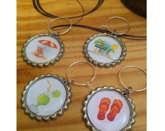 Summertime Fun Wine Glass Charms